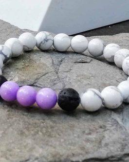 White Howlite, Mashan Jade and Lava Stone Diffuser Bead Bracelet.
