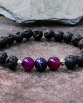 Lava Rock Stone and Purple Onyx Diffuser Bead Bracelet.