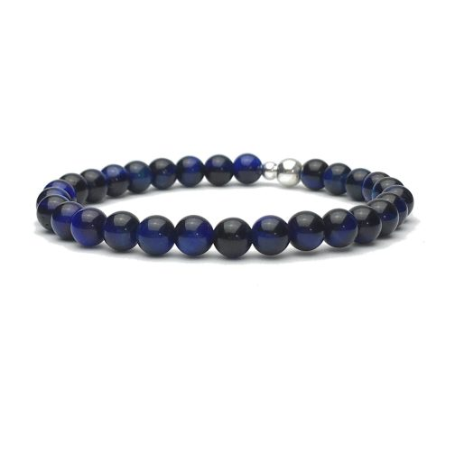 6mm Blue Tigers Eye and Sterling Silver Bead Bracelet