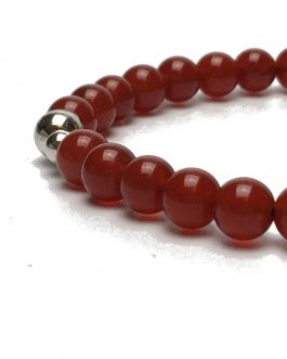 6mm Red Agate and Sterling Silver Bead Bracelet
