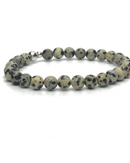 6mm Dalmatian Jasper and Sterling Silver Bead Bracelet