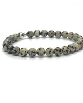 6mm Dalmatian Jasper and Sterling Silver Bead Bracelet
