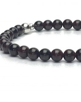 6mm Garnet and Sterling Silver Bead Bracelet
