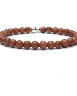 6mm Goldstone and Sterling Silver Bead Bracelet