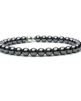 6mm Hematite and Sterling Silver Bead Bracelet