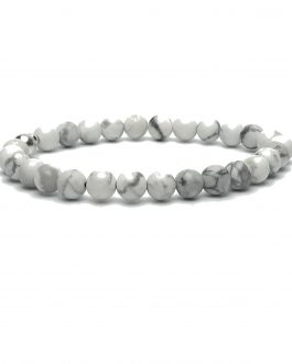 6mm Howlite and Sterling Silver Bead Bracelet