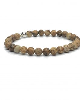 6mm Picture Stone and Sterling Silver Bead Bracelet
