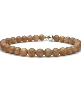 6mm Sunstone and Sterling Silver Bead Bracelet