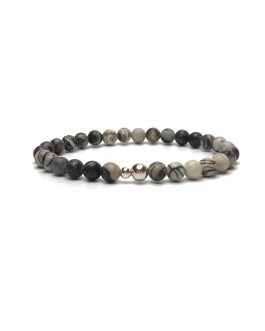 6mm Zebra Stone and Sterling Silver Bead Bracelet