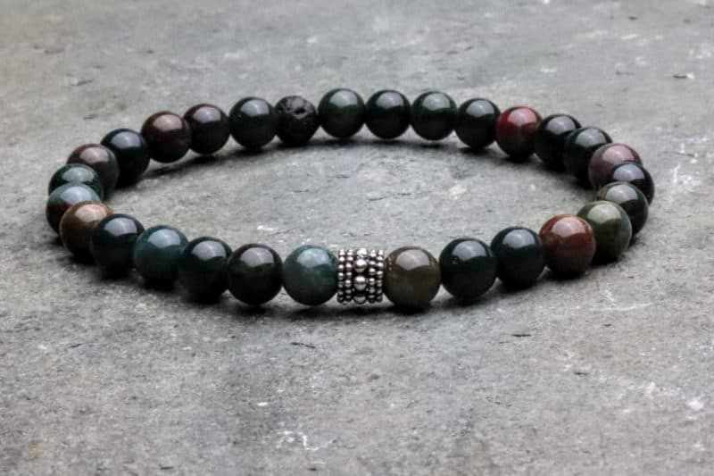 Bloodstone and Sterling Silver Beaded Bracelet