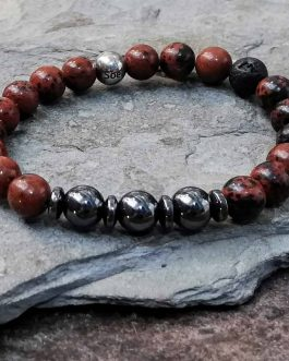 Mahogany Obsidian and Hematite Beaded Bracelet