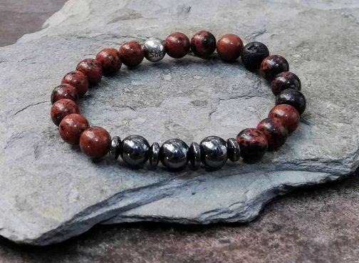 Mahogany Obsidian and Hematite Beaded Bracelet