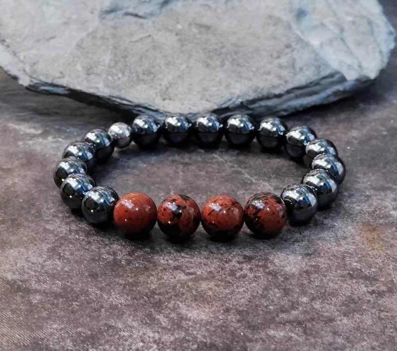 Hematite and Mahogany Obsidian Beaded Bracelet