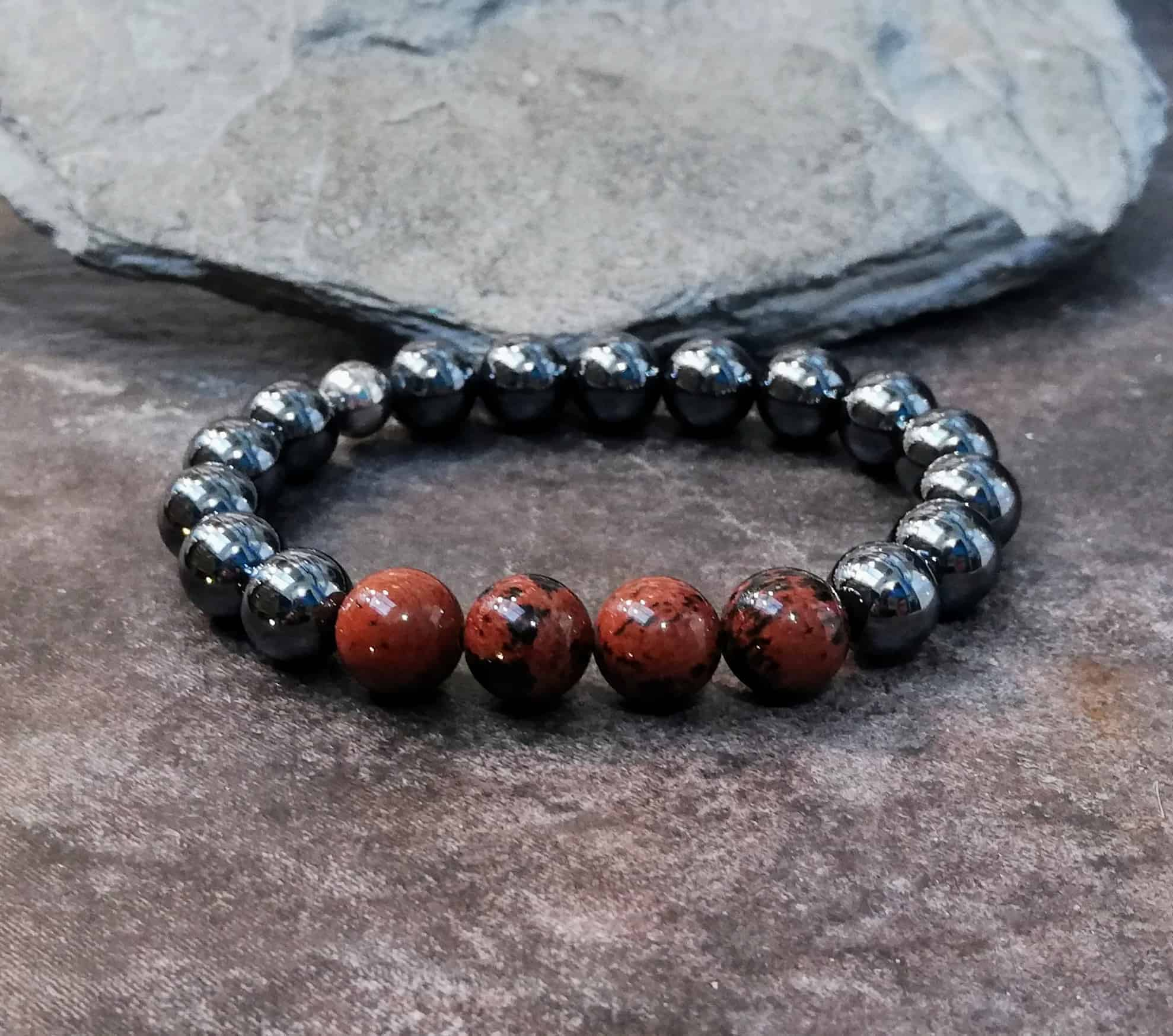 Hematite and Mahogany Obsidian Beaded Bracelet