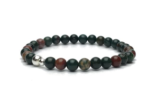 6mm Bloodstone and Sterling Silver Bead Bracelet