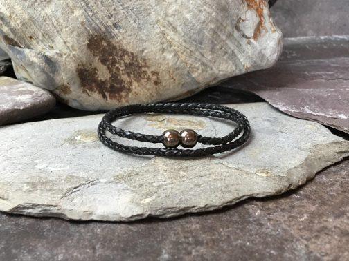 Slimline Braided Leather Double Wrap Bracelet