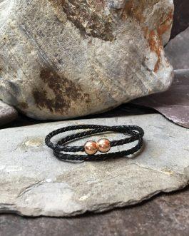 3mm Braided Leather Double Wrap Bracelet
