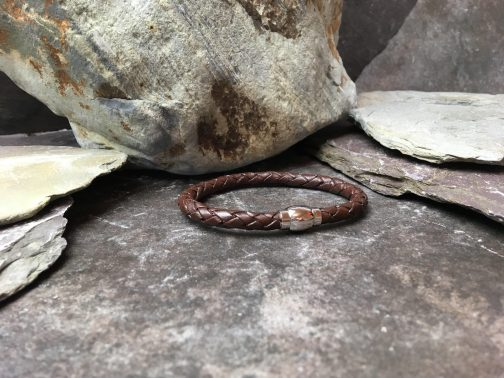6mm Brown Braided Leather Bracelet