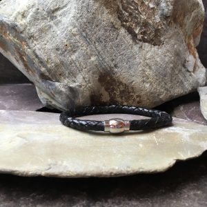 6mm Black Braided Leather Casual Bracelet