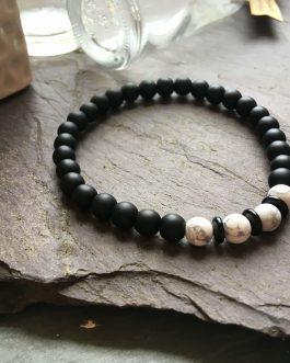 6mm Black Onyx and White Howlite Bead Bracelet