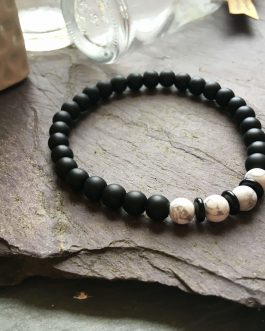 6mm Black Onyx and White Howlite Bead Bracelet