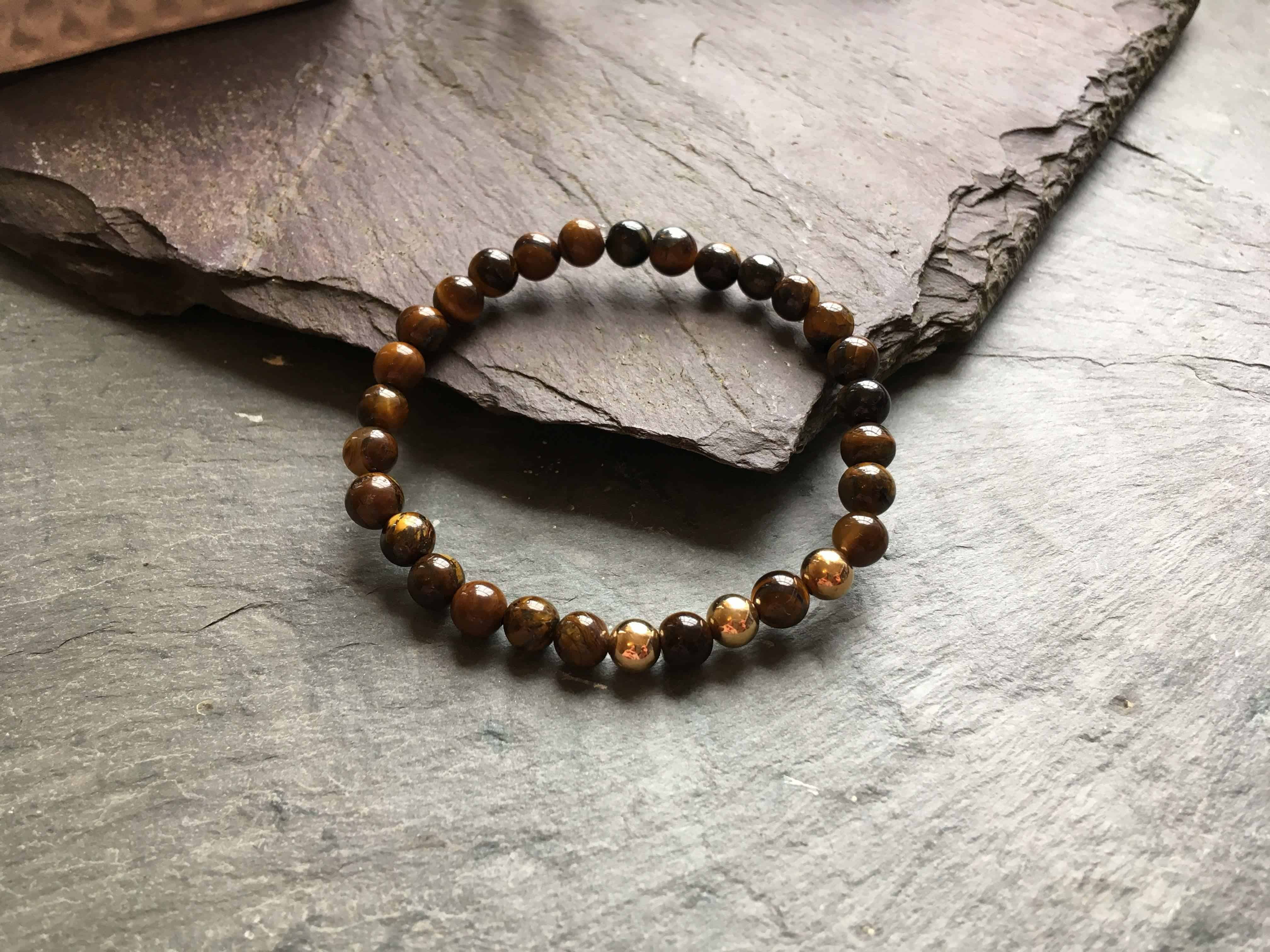 6mm Tigers Eye and Rose Gold Coloured Bead Bracelet.