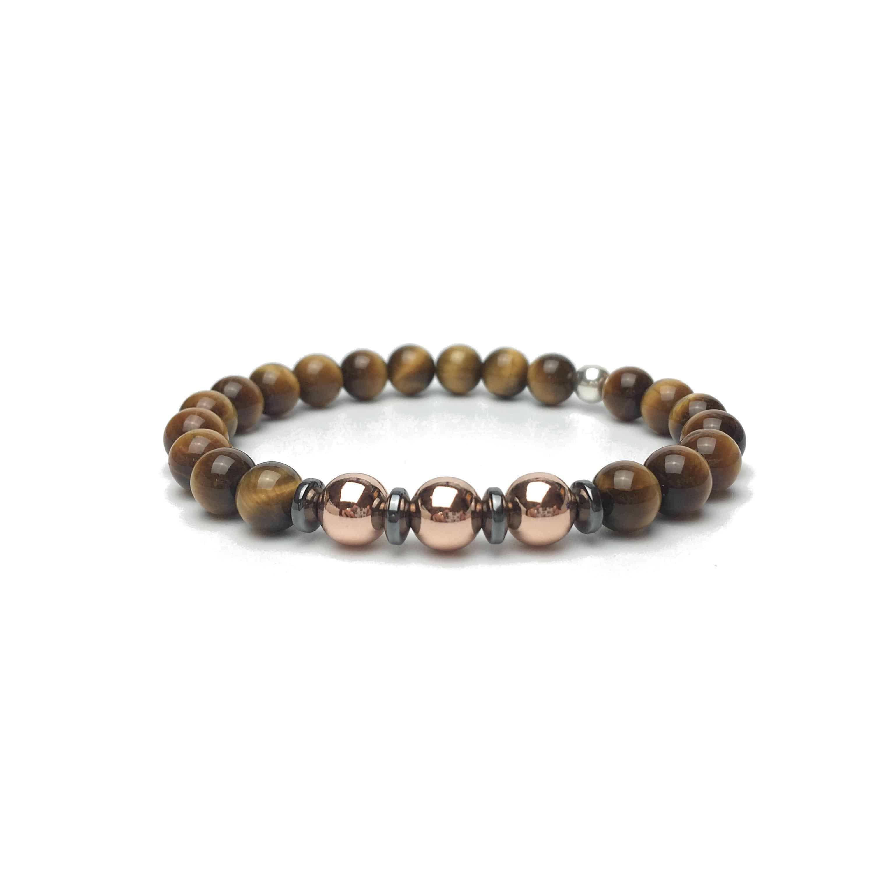 Grade 'A' Tigers Eye and Rose Colour Bracelet