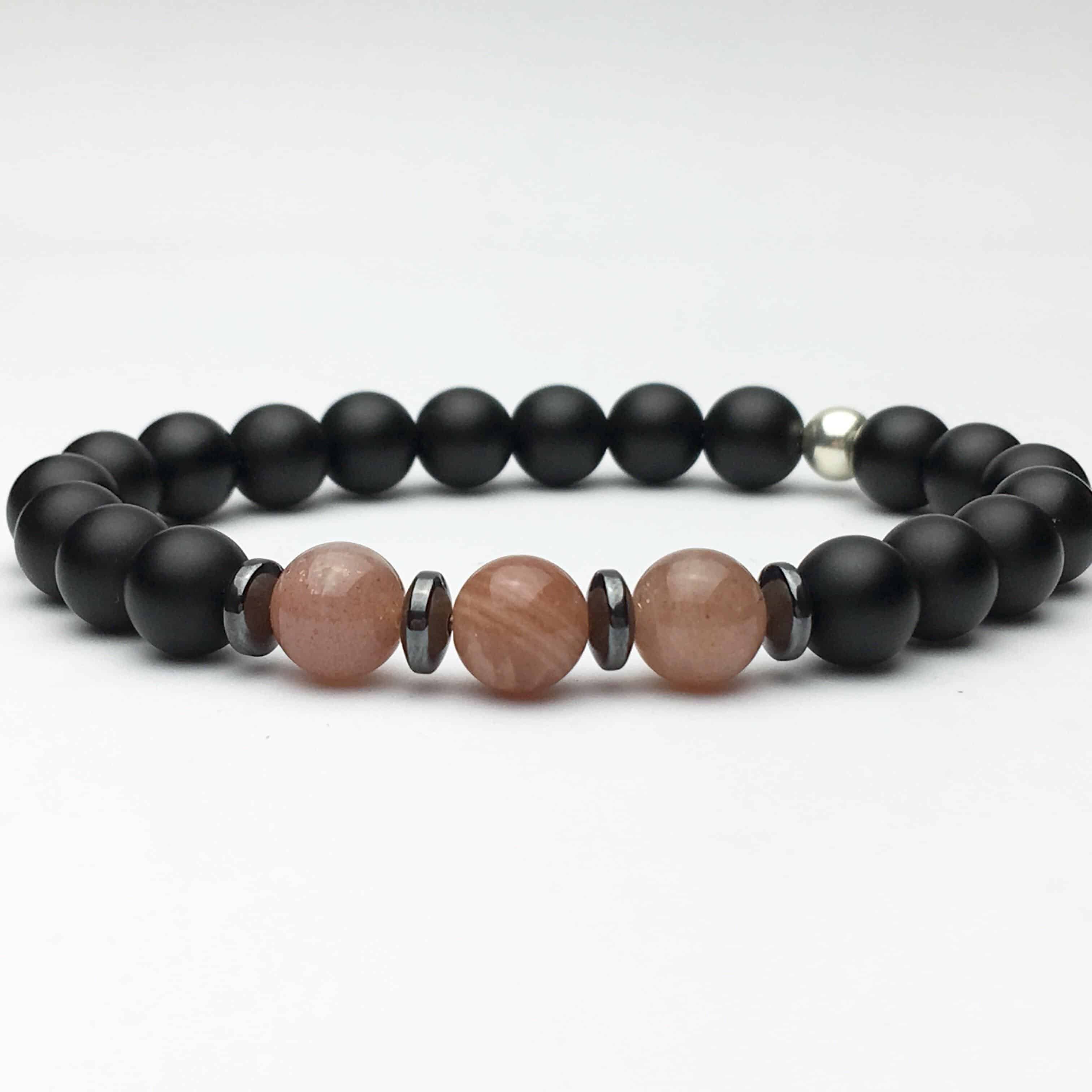 Onyx and Sunstone Stylish Bracelet