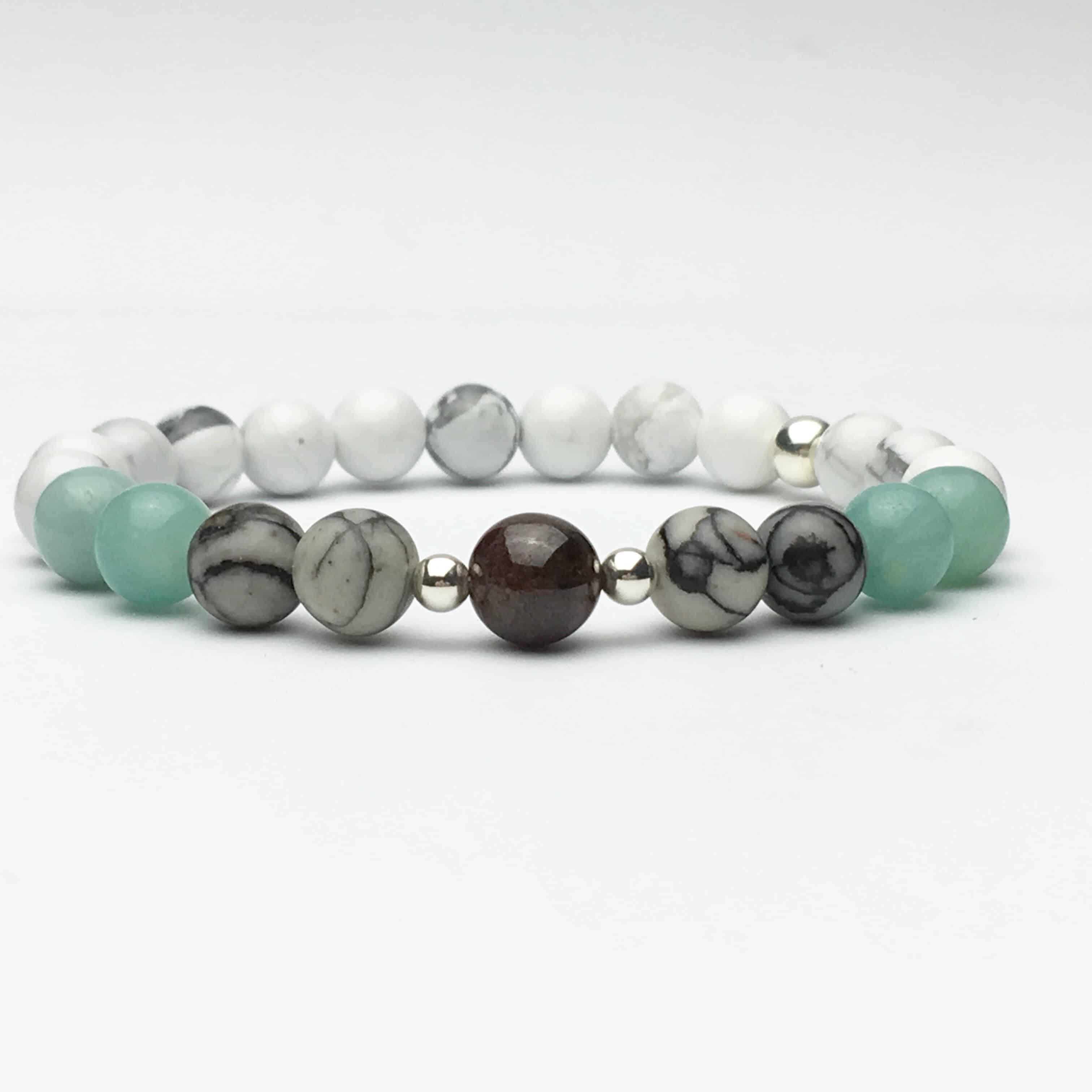 Howlite & Multi Gem Bead and Silver Bracelet