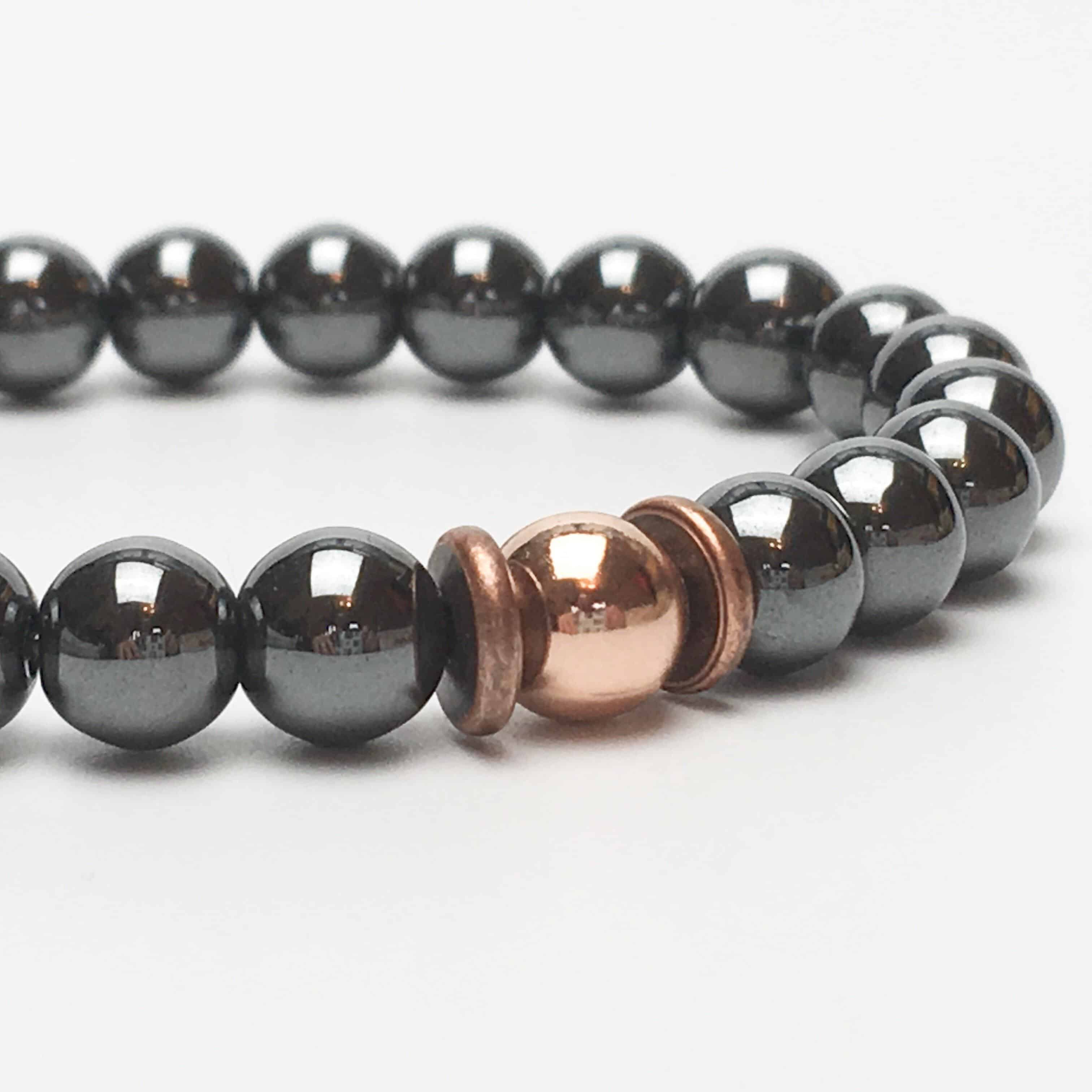 Hematite and Rose Gold Plate Beaded Bracelet