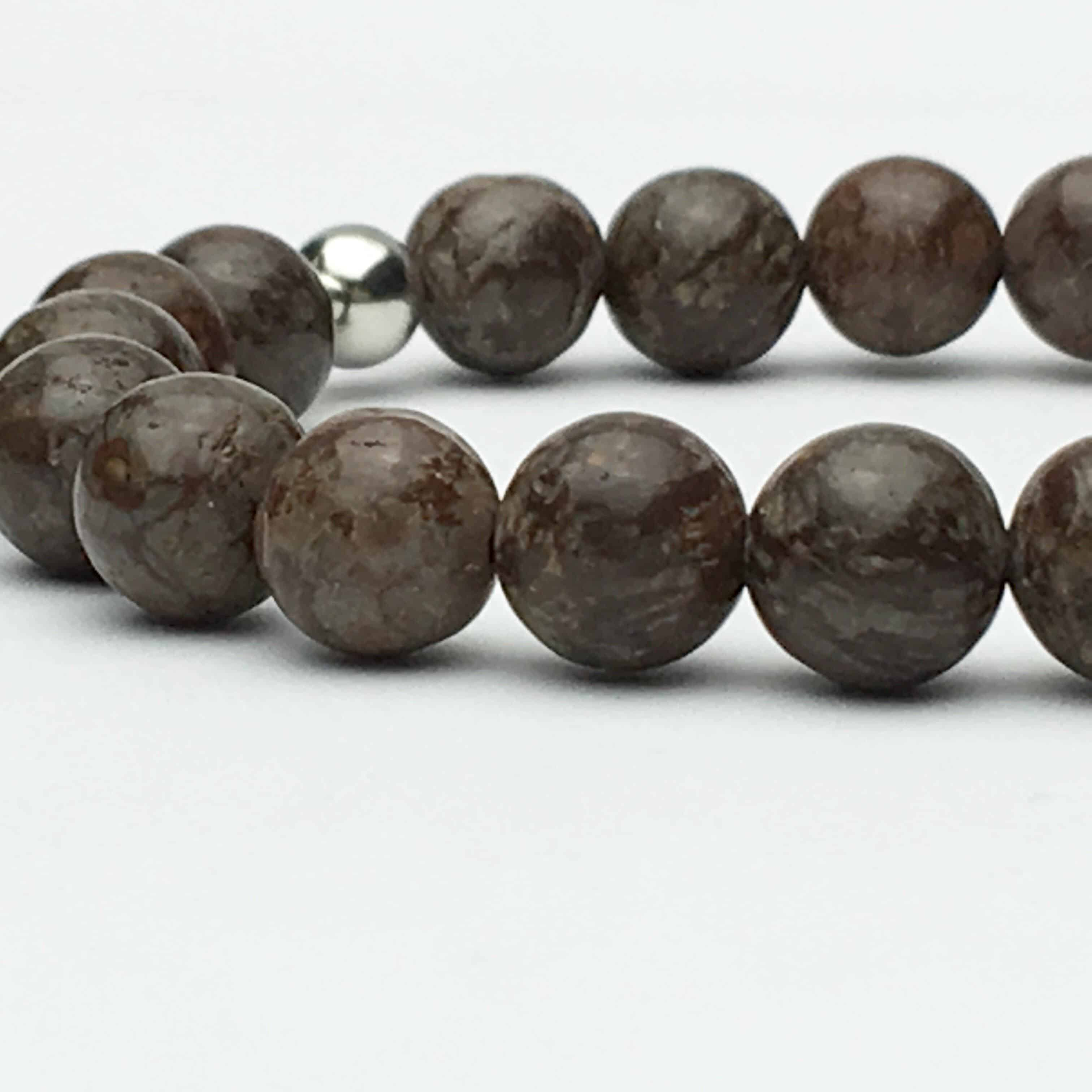 Snowflake Obsidian and Silver Bead Bracelet