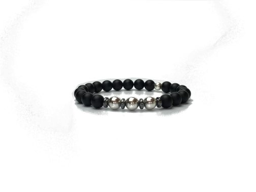 Sterling Silver and Onyx Bracelet