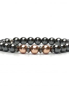 Hematite and Rose Gold Colour Stylish Bracelet
