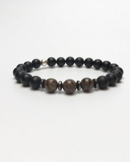 Onyx and Snowflake Obsidian Bracelet