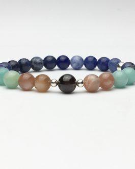 Garnet & Multi Gem Bead and Silver Bracelet