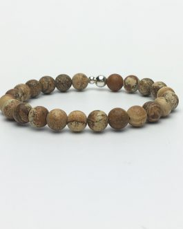 8mm Picture Stone and Silver Beaded Bracelet