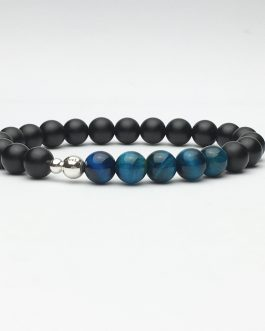 Blue Tigers Eye and Onyx Bead Stretch Bracelet
