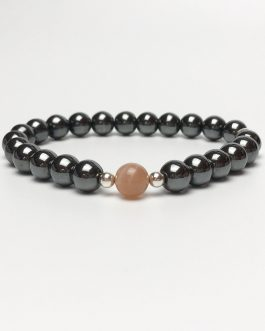 Hematite, Sunstone and Silver Beaded Bracelet