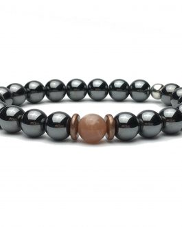 Hematite and Sunstone Bead Bracelet