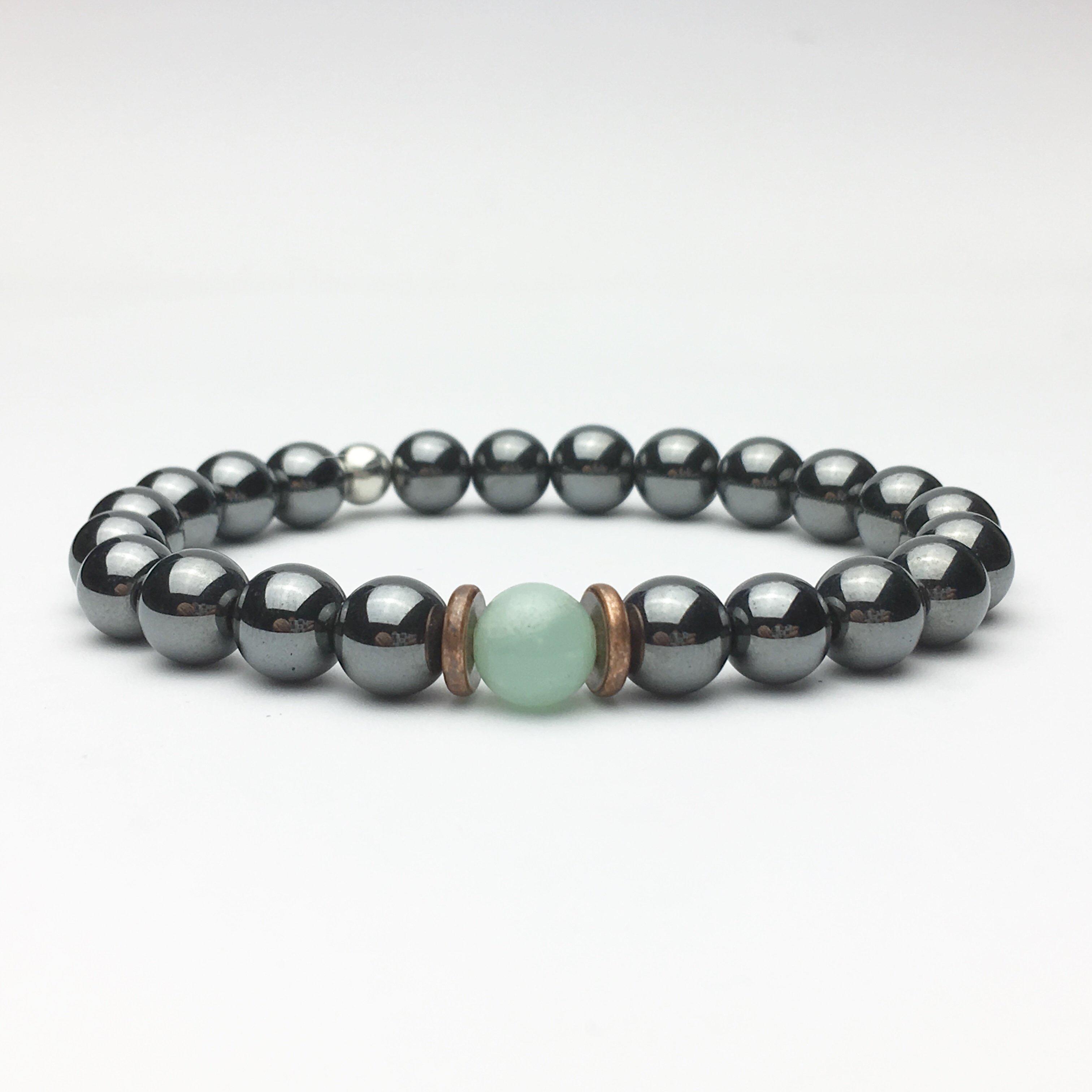 Amazonite and Hematite Beaded Bracelet