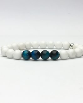 Blue Tiger Eye and White Jade Bead Bracelet