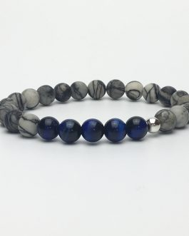 Blue Tigers Eye and Zebra Stone Bead Bracelet