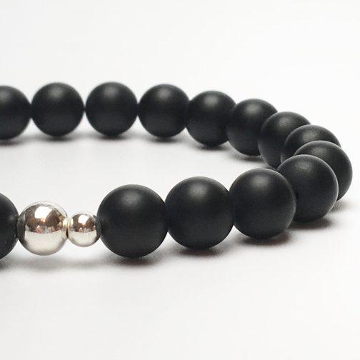 Black Onyx and Silver Bead Bracelet