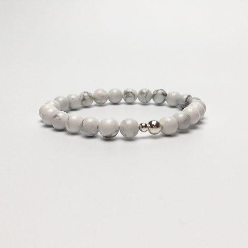 Grade 'A' Howlite and Silver Bead Bracelet