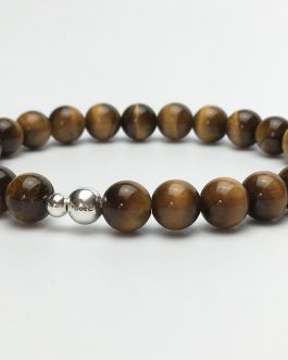 A Grade Tigers Eye and Silver Bead Bracelet