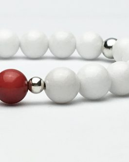 Red Coral and White Jade Bracelet