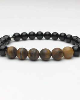 Matte Tigers Eye and Polished Onyx Bead Bracelet
