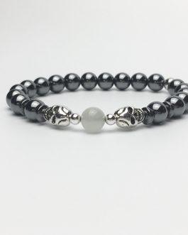 Skull Bracelet with Hematite and Moonstone