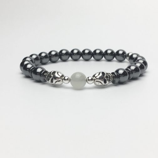 Skull Bracelet with Hematite and Moonstone