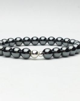 Hematite and Silver Bead Bracelet